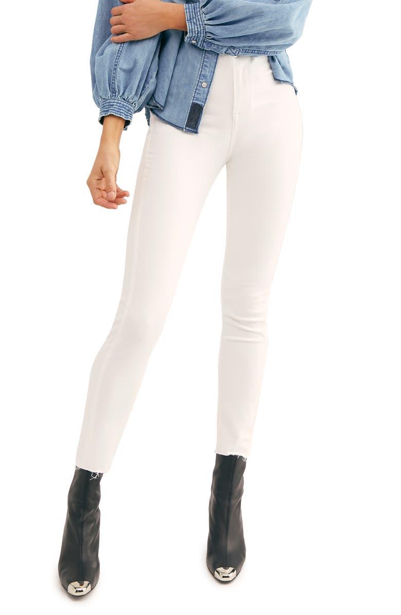 FREE PEOPLE Miles Away High Waist Crop Skinny Jeans, Main, color, 103