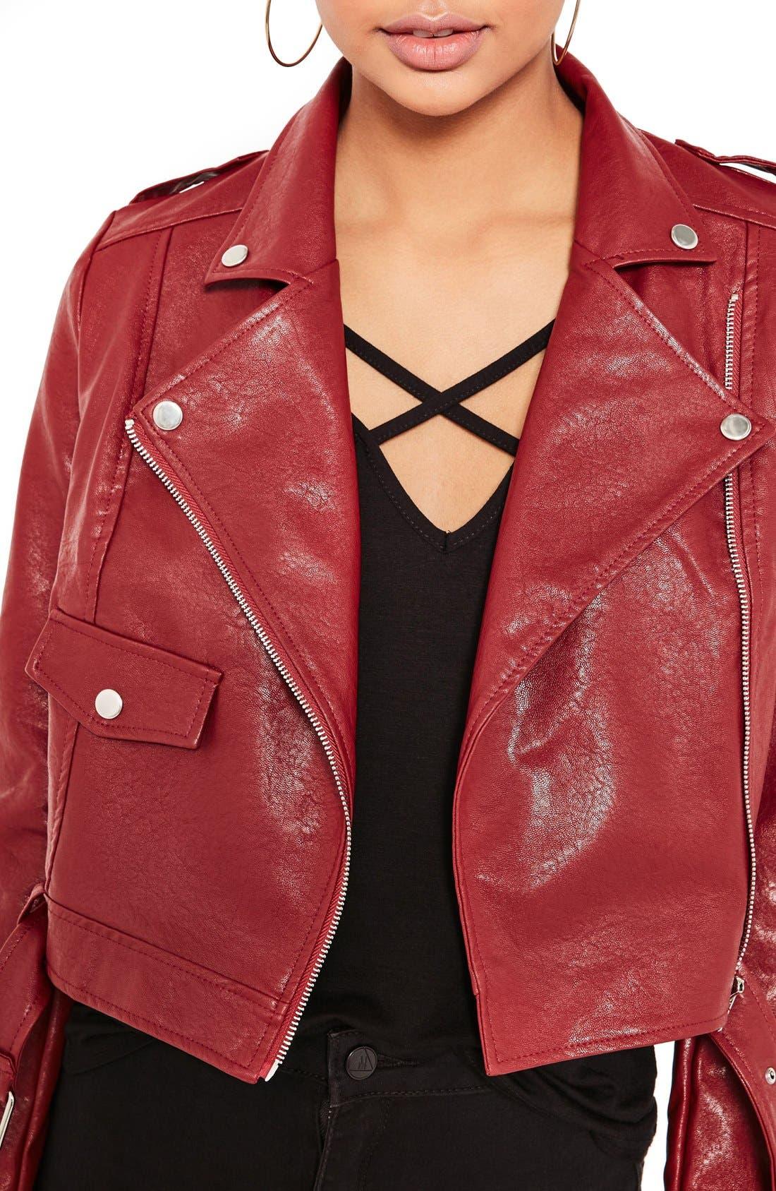 ,                             Faux Leather Moto Jacket,                             Alternate thumbnail 5, color,                             930