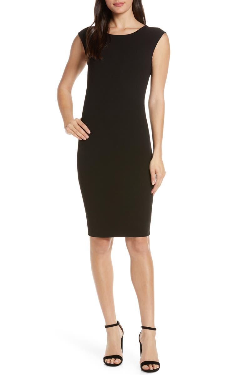 ELIZABETH CROSBY Megan Low V-Back Sheath Dress, Main, color, BLACK