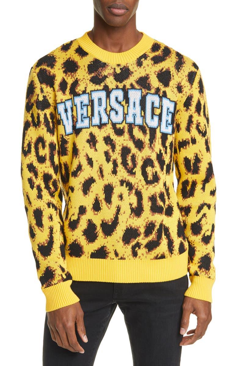 VERSACE Leopard Sweater, Main, color, LEOPARD MULTI
