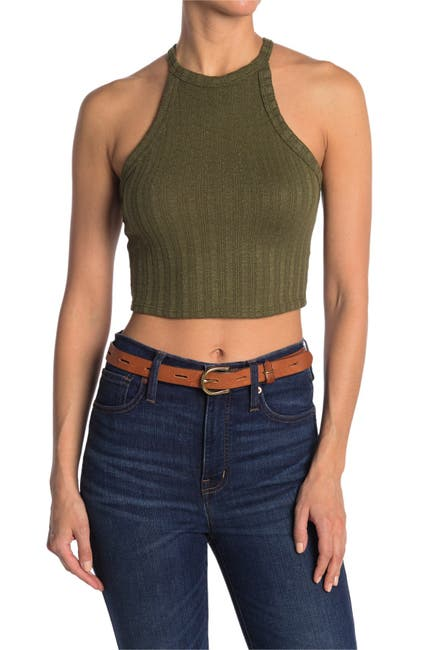 Image of Abound Halter Neck Ribbed Crop Tank Top