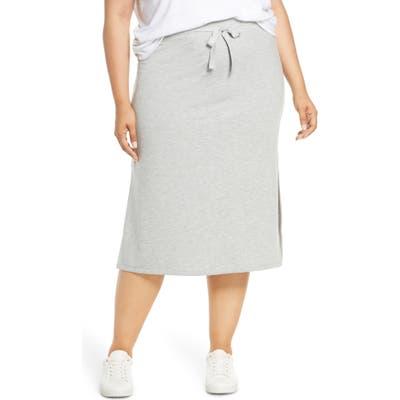 Plus Size Caslon Drawstring Side Slit Skirt, Grey