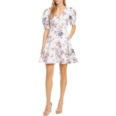 Rebecca Taylor Floral Toile Cotton & Linen Blend Dress, White