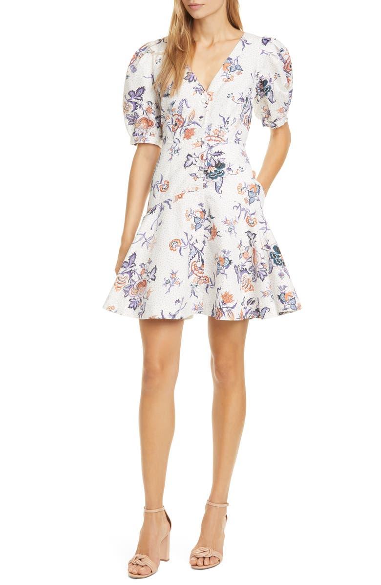 REBECCA TAYLOR Floral Toile Cotton & Linen Blend Dress, Main, color, SNOW COMBO