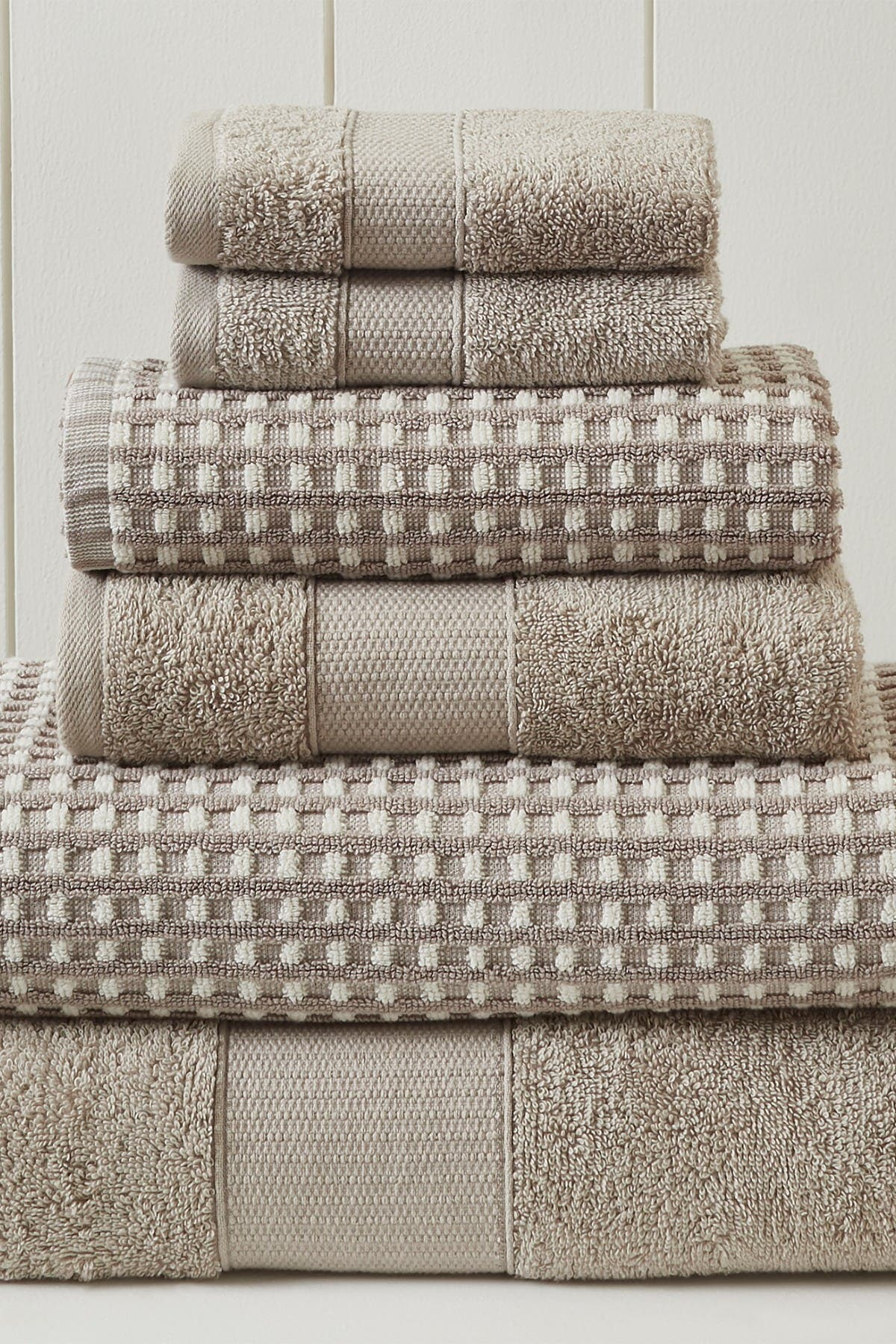 Image of Modern Threads Luxury Spa Cobblestone Quick Dry 6-Piece Towel Set - Flax