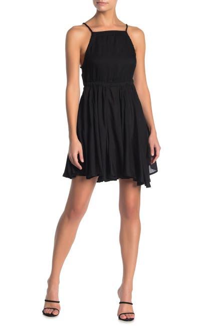 Image of BOHO ME Square Neck Chambray Mini Cover-Up Dress