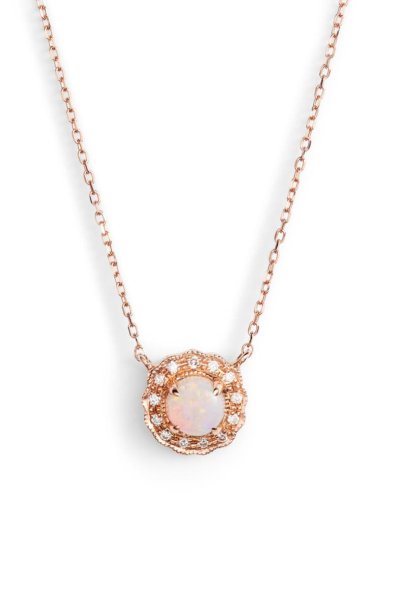 DANA REBECCA DESIGNS Charlie Caroline Opal Pendant Necklace, Main, color, ROSE GOLD