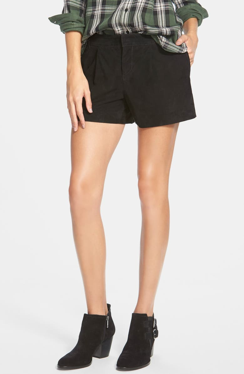 HALOGEN<SUP>®</SUP> Suede Pleat Front Shorts, Main, color, 001