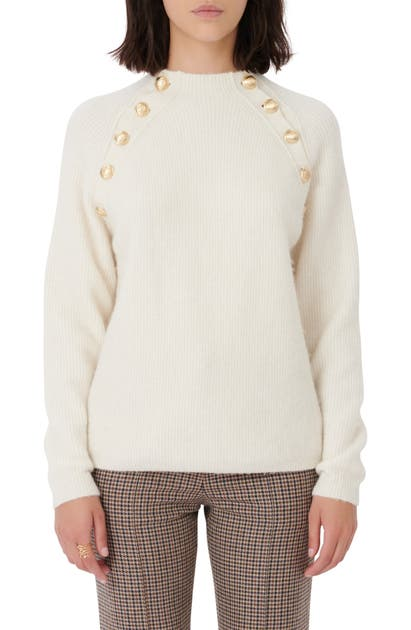 Maje BUTTON DETAIL RIBBED SWEATER