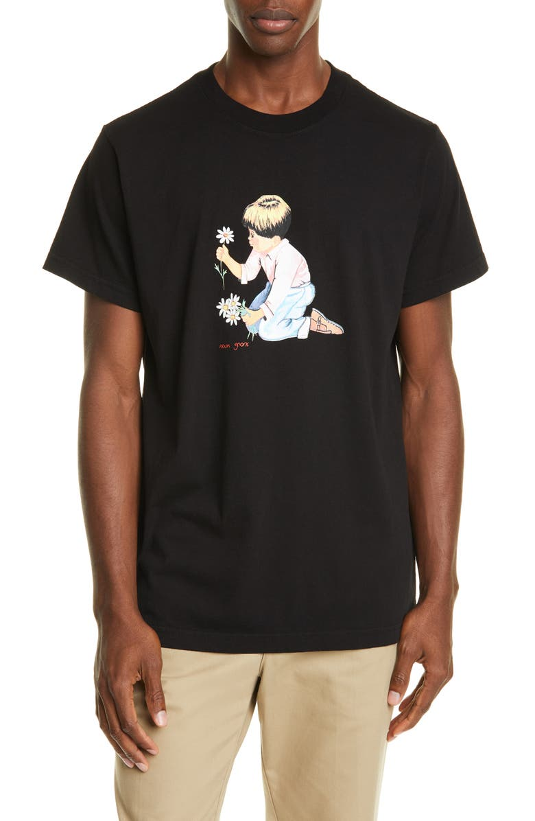NOON GOONS Daisies T-Shirt, Main, color, BLACK