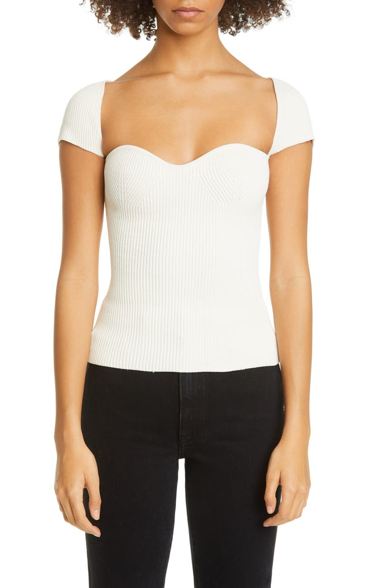 KHAITE Ista Ribbed Bustier Sweater, Main, color, 100