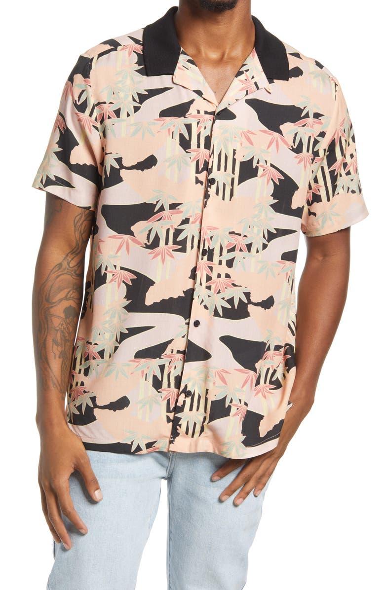 TOPMAN Men's Palm & Camo Print Short Sleeve Button-Up Shirt, Main, color, PINK