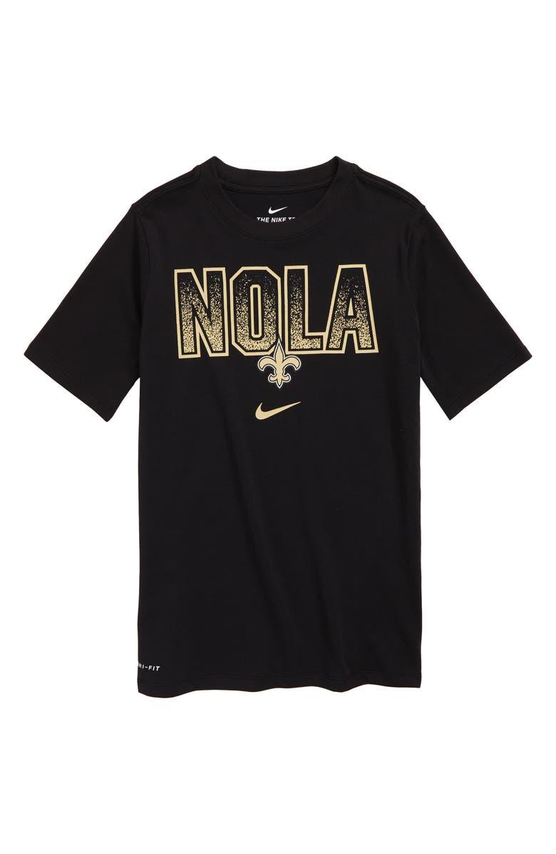 best website 0710e d7ed8 Nike NFL Logo New Orleans Saints Dri-FIT T-Shirt (Big Boys ...