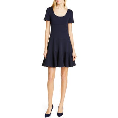 Rebecca Taylor Textured Scallop Detail Fit & Flare Dress, Blue