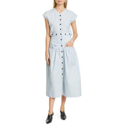 Proenza Schouler Button Cotton Poplin Dress, Blue