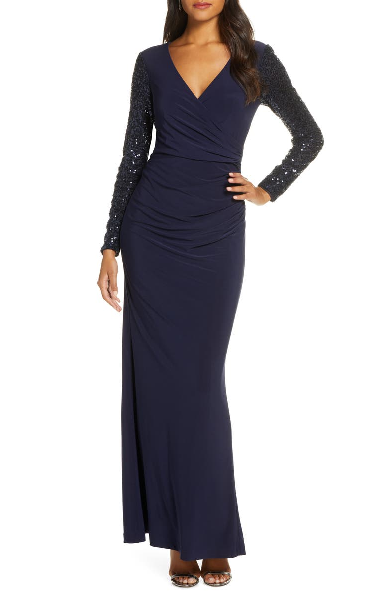 ELIZA J Sequin Long Sleeve Ruched Gown, Main, color, 410