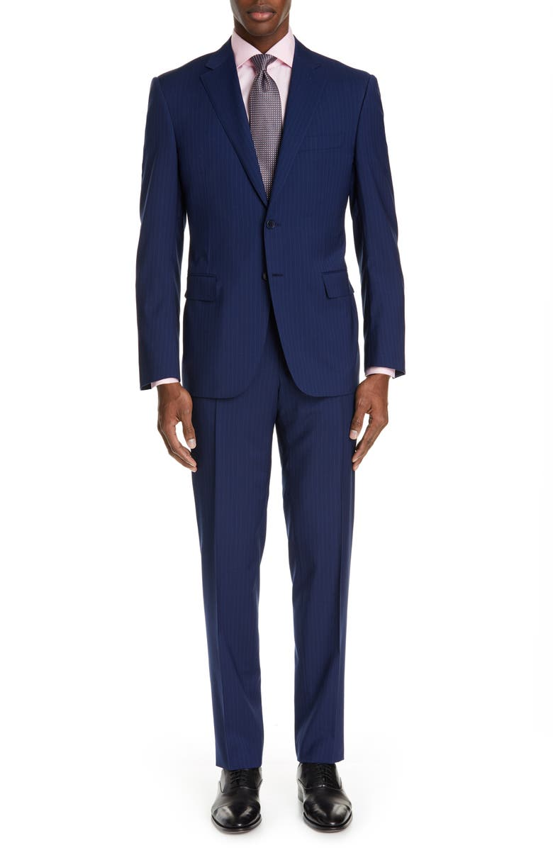 CANALI Sienna Classic Fit Stripe Wool Suit, Main, color, 400