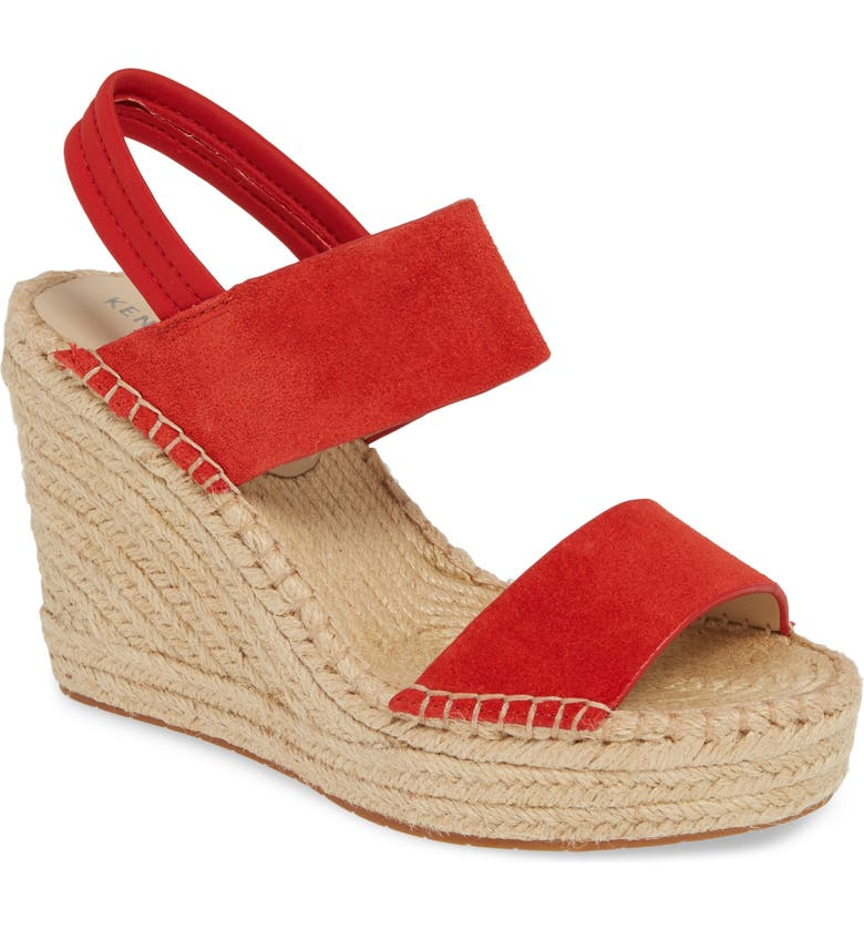 KENNETH COLE NEW YORK Olivia Simple Platform Wedge Sandal, Main, color, FUEGO SUEDE