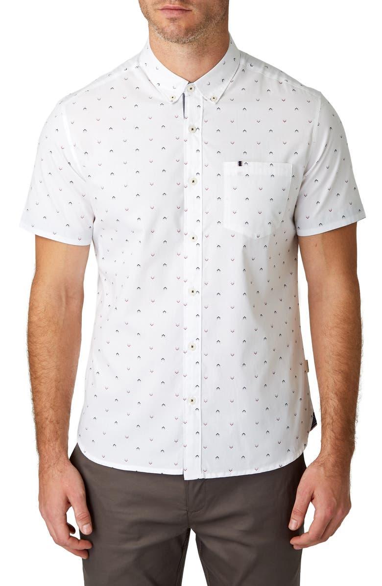 7 DIAMONDS Dark Star Slim Fit Floral Print Shirt, Main, color, OFF WHITE