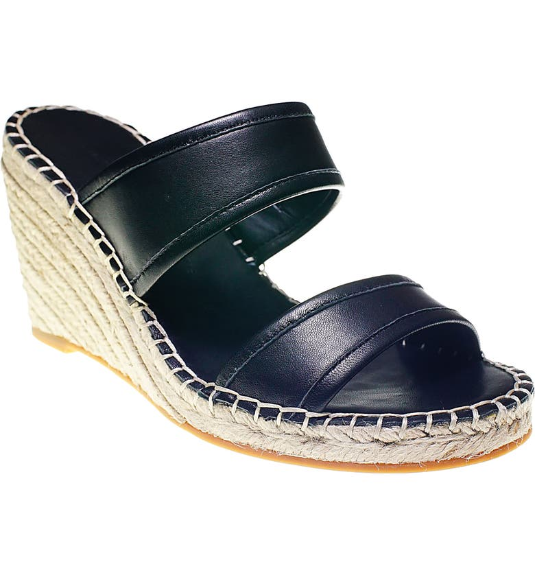 CUPCAKES AND CASHMERE Nalene Wedge Sandal, Main, color, BLACK LEATHER