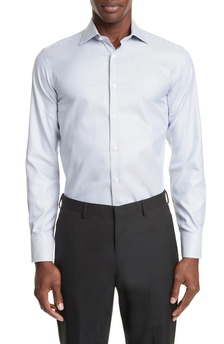 CANALI Trim Fit Stripe Dress Shirt, Main, color, BROWN