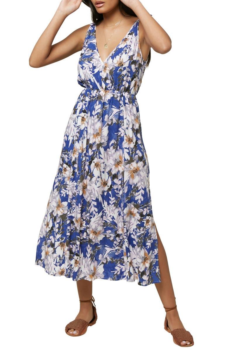 O'NEILL Joiya Floral Print Midi Dress, Main, color, MULTI COLORED
