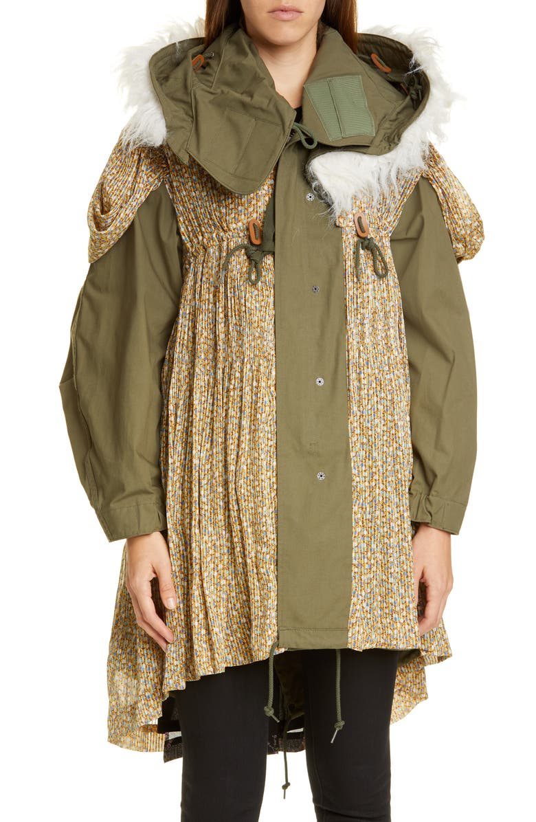 JUNYA WATANABE Reversible Mixed Media Parka, Main, color, GREEN KHAKI X WHITE/ BLACK
