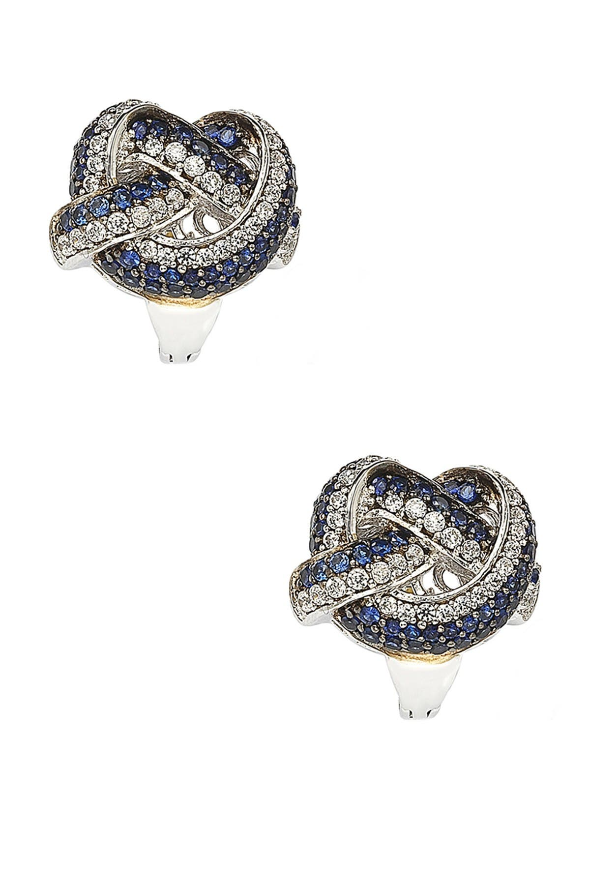 Image of Suzy Levian Two-Tone Blue Sapphire, Created White Sapphire & Brown Diamond Earrings - 0.02 ctw