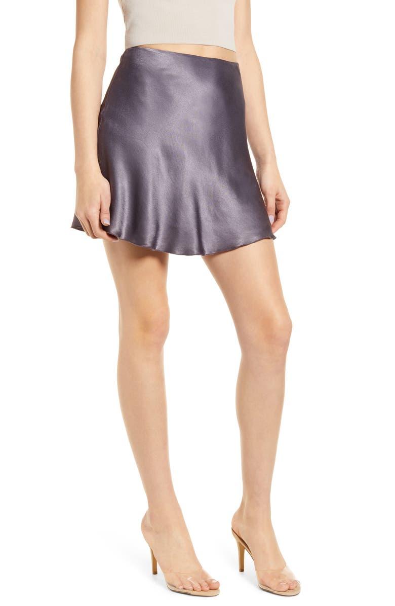 SOCIALITE Bias Cut Satin Miniskirt, Main, color, 020