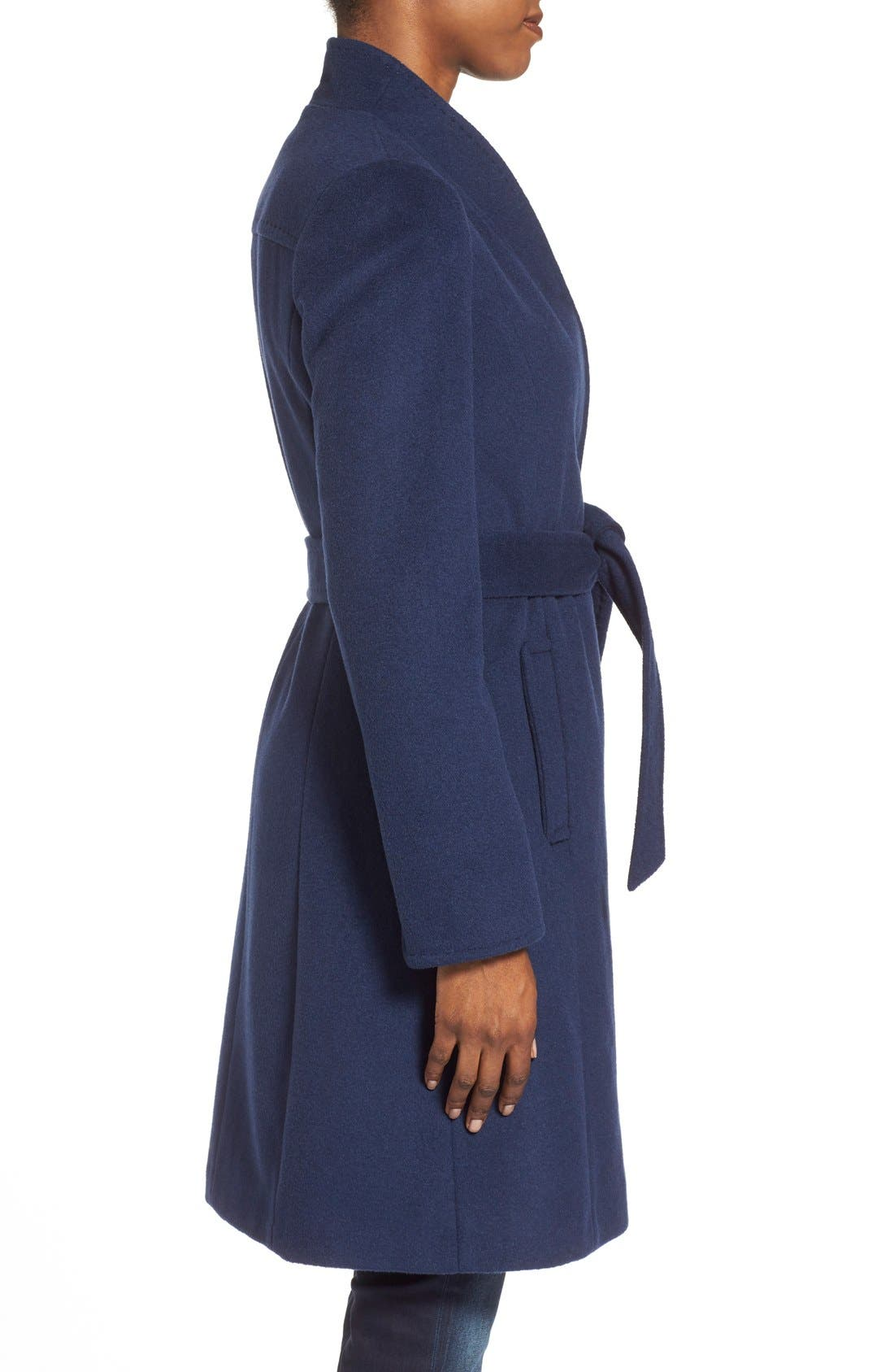 ,                             Belted Wool Blend Stand CollarCoat,                             Alternate thumbnail 3, color,                             402