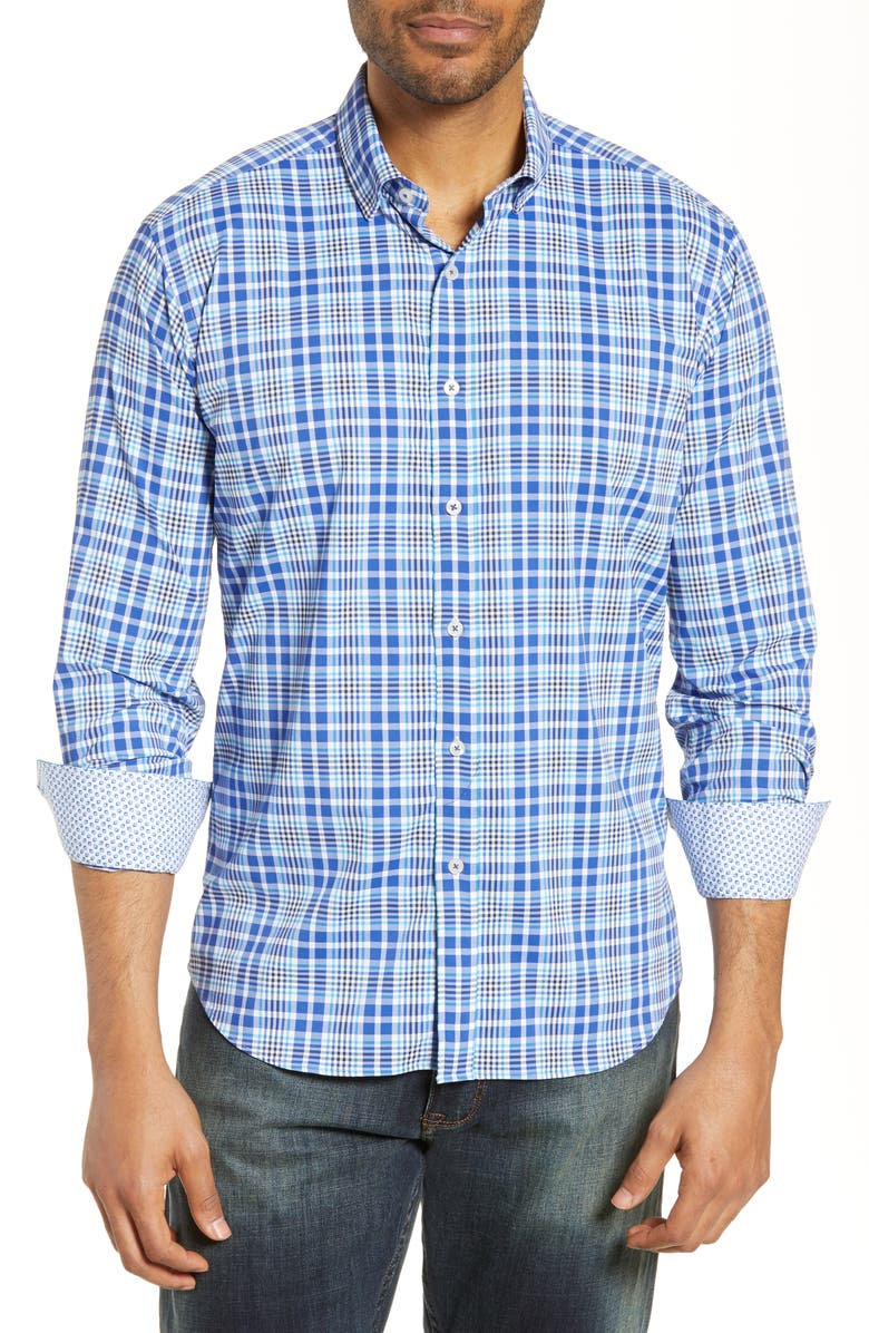 BUGATCHI Shaped Fit Performance Shirt, Main, color, CLASSIC BLUE