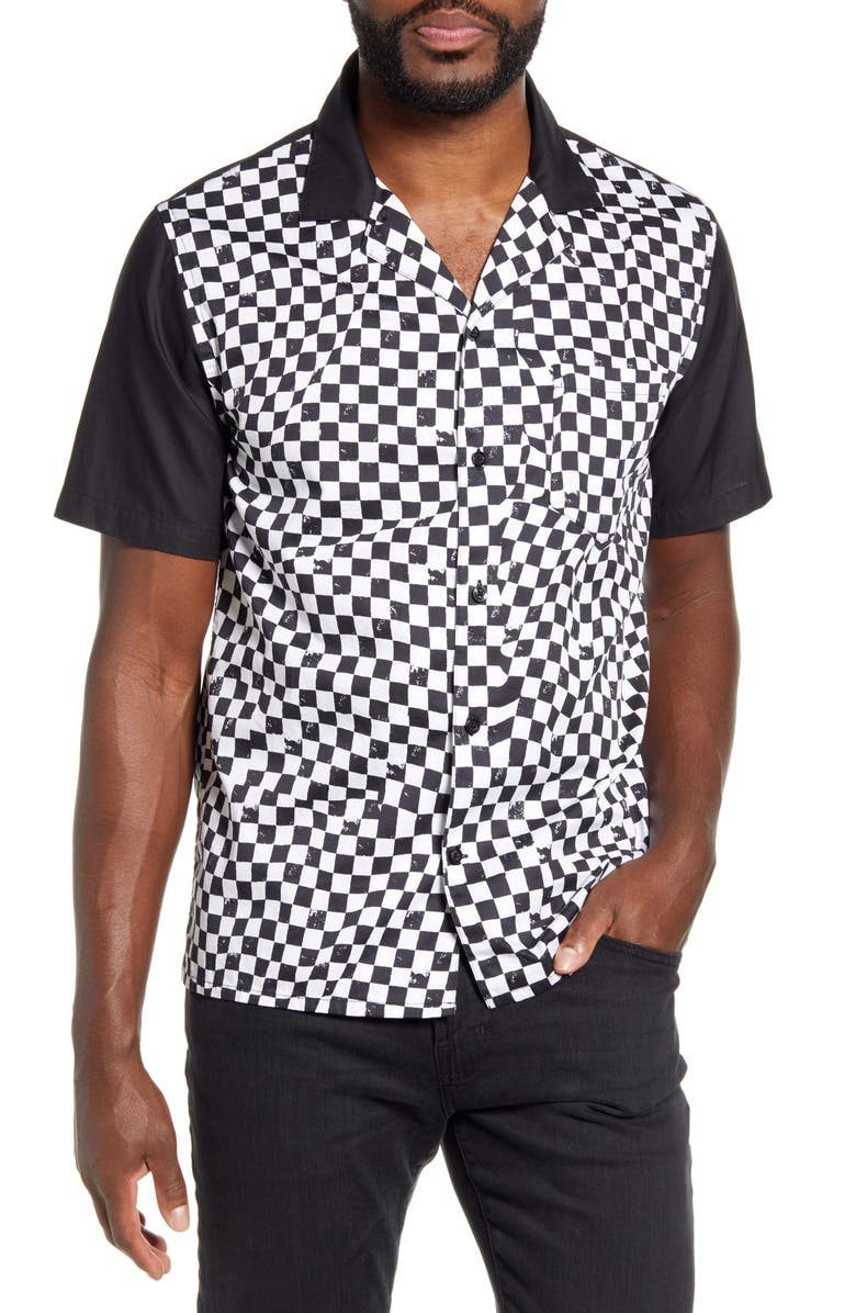 JOHN VARVATOS STAR USA Bobby Checkerboard Short Sleeve Button-Up Bowling Shirt, Main, color, 006