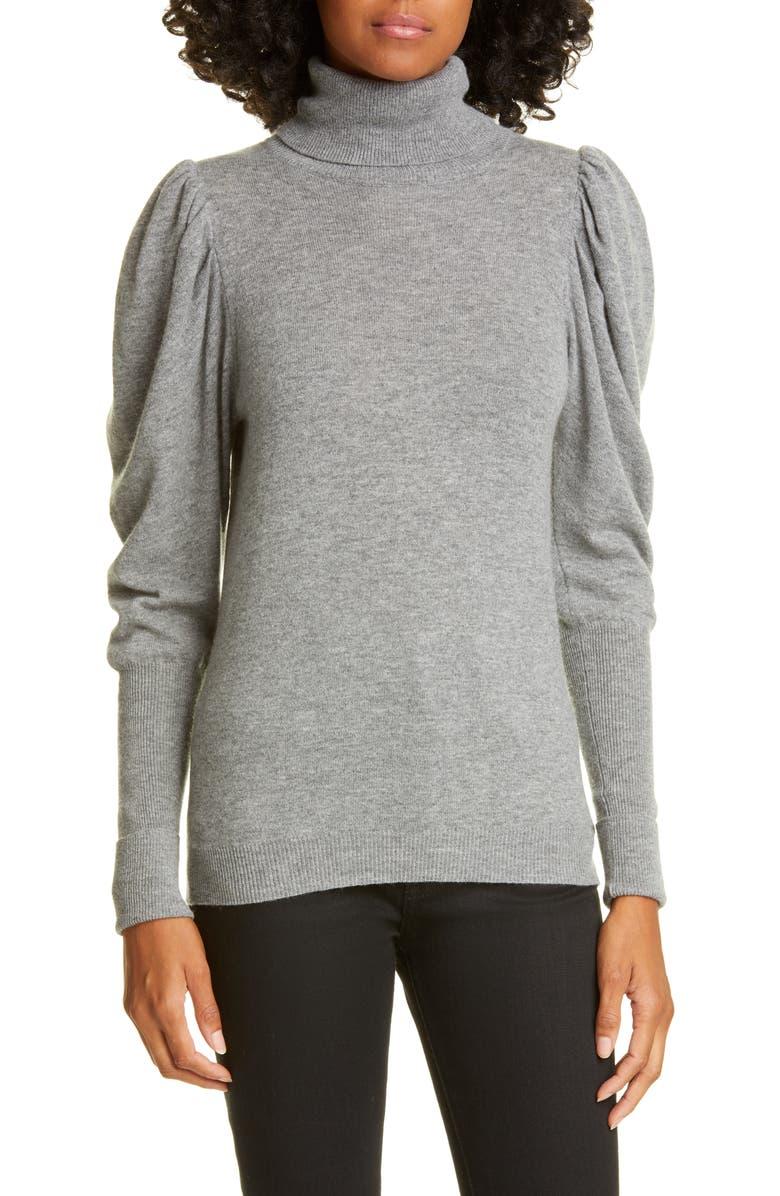AUTUMN CASHMERE Leg of Mutton Sleeve Turtleneck Cashmere Sweater, Main, color, CEMENT