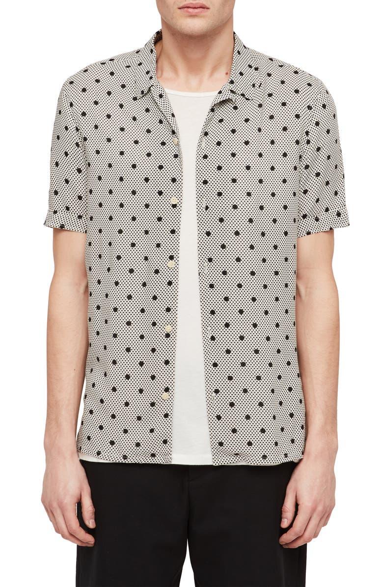 ALLSAINTS Amour Slim Fit Polka Dot Camp Shirt, Main, color, OFF WHITE