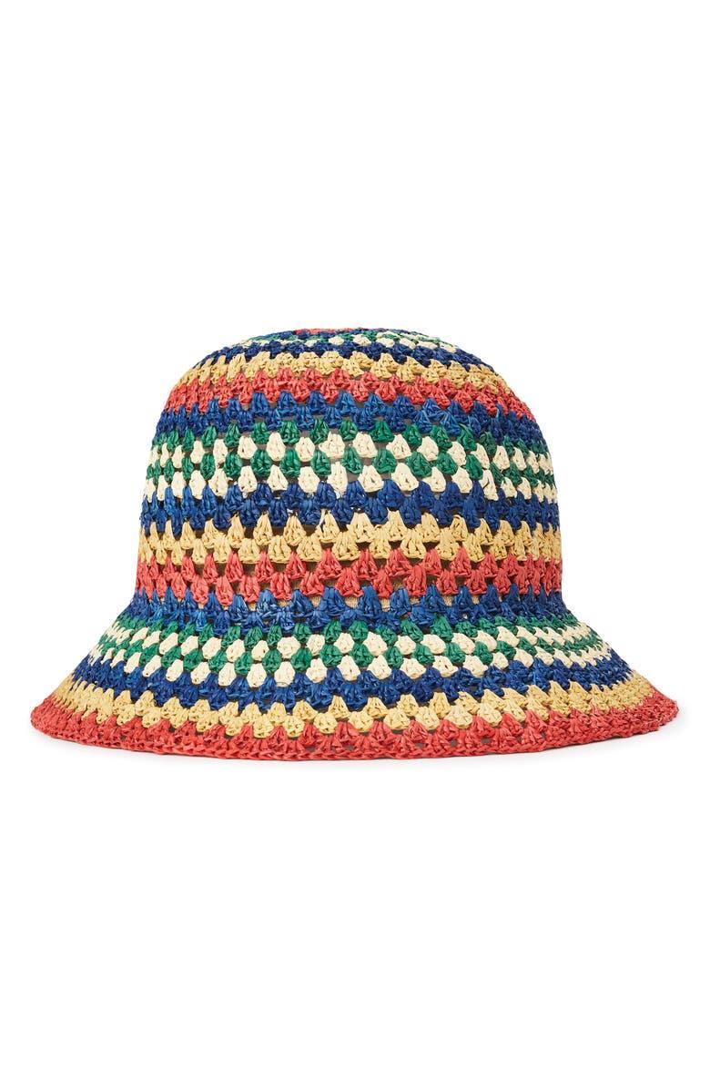 BRIXTON Essex Raffia Bucket Hat, Main, color, 400