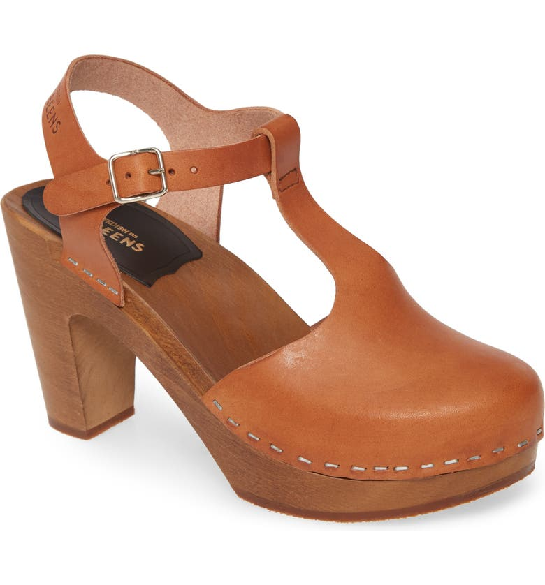 SWEDISH HASBEENS Sky T-Strap Pump, Main, color, COGNAC LEATHER