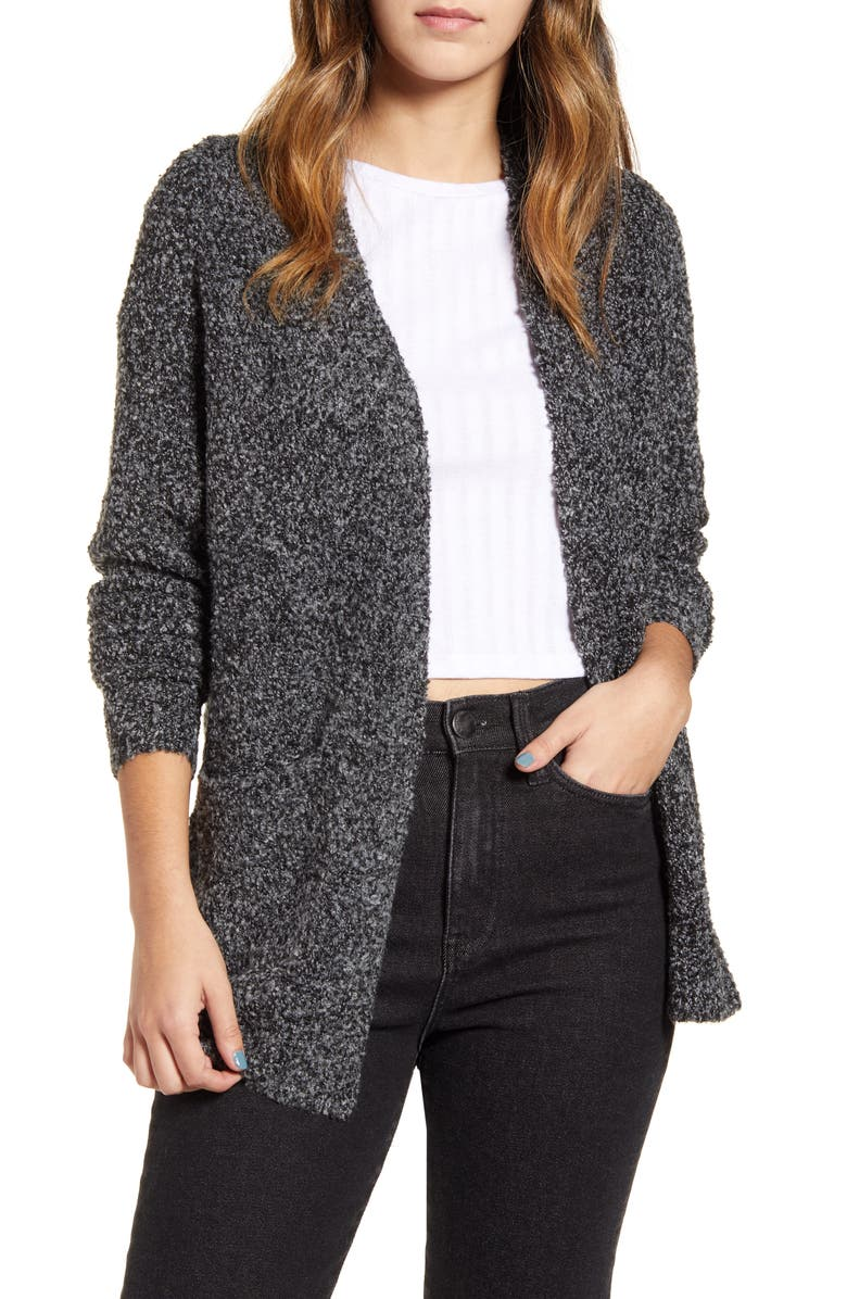 BP. Bouclé Cardigan, Main, color, GREY KITTEN BLACK MARL