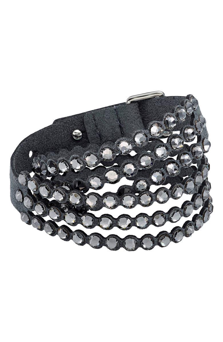 SWAROVSKI Power Collection Beaded Bracelet, Main, color, CRYSTAL SILVER NIGHT