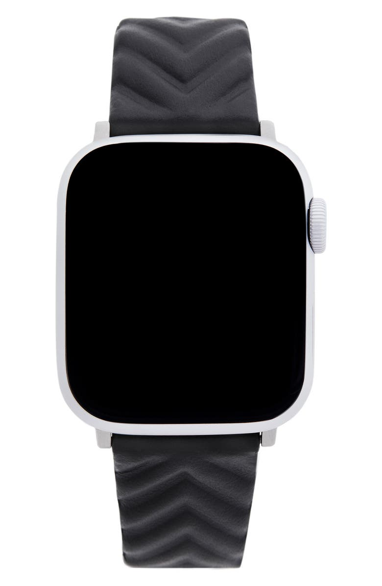 REBECCA MINKOFF Quilted Leather Apple Watch<sup>®</sup> Strap, Main, color, BLACK