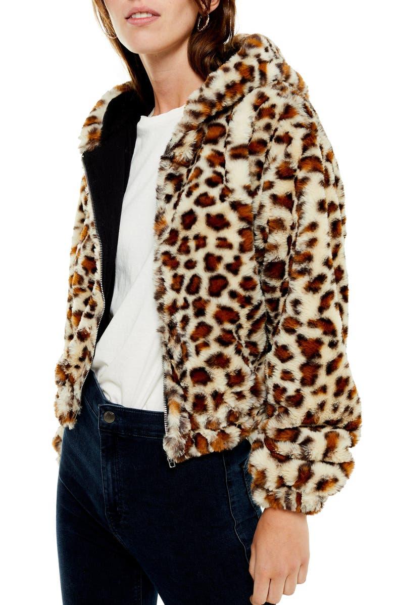 TOPSHOP Faux Fur Zip Hooded Jacket, Main, color, TAN MULTI