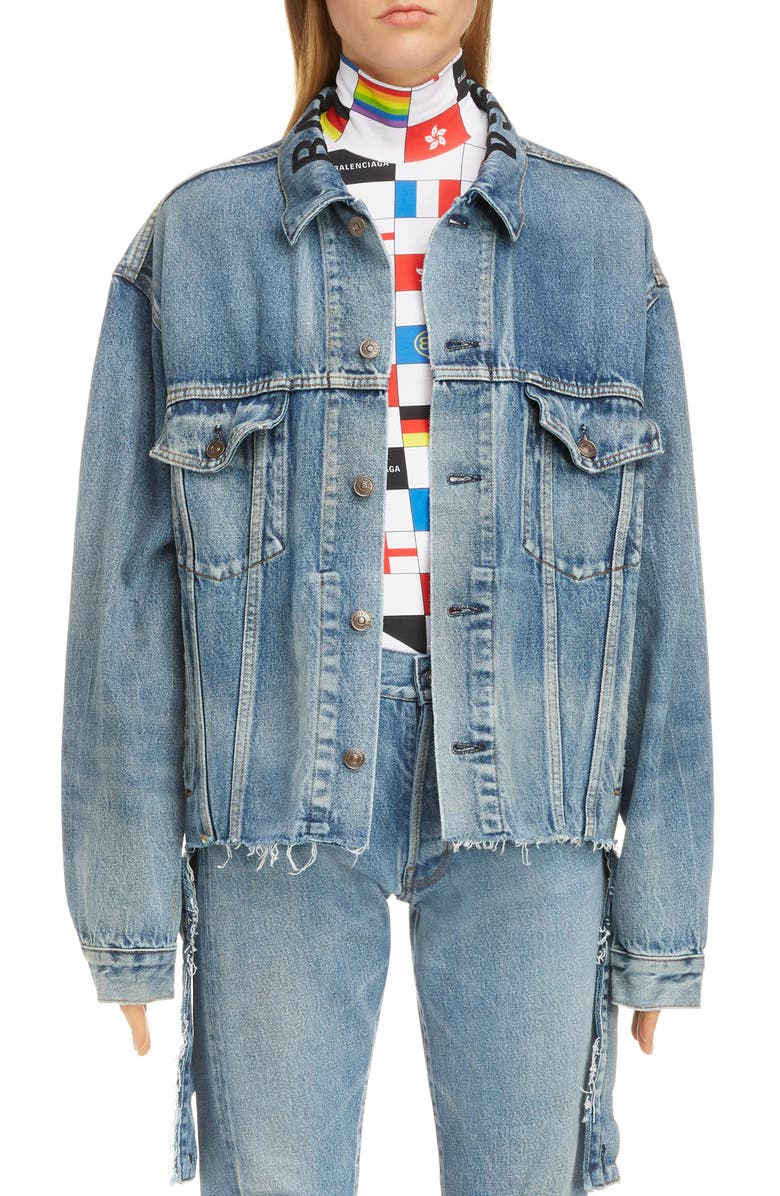 BALENCIAGA Cut Waistband Denim Jacket, Main, color, LIGHT VINT INDIGO