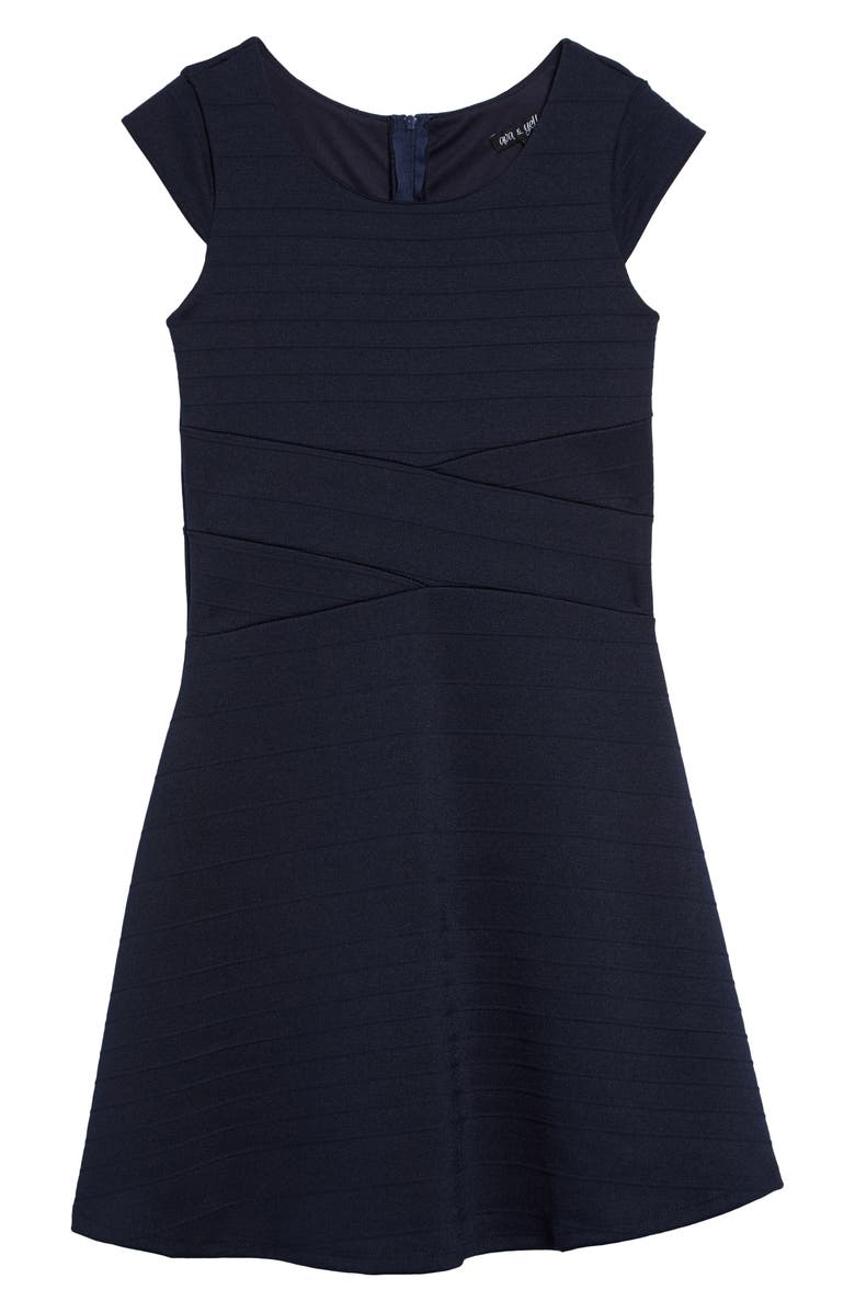 AVA & YELLY Skater Dress, Main, color, NAVY