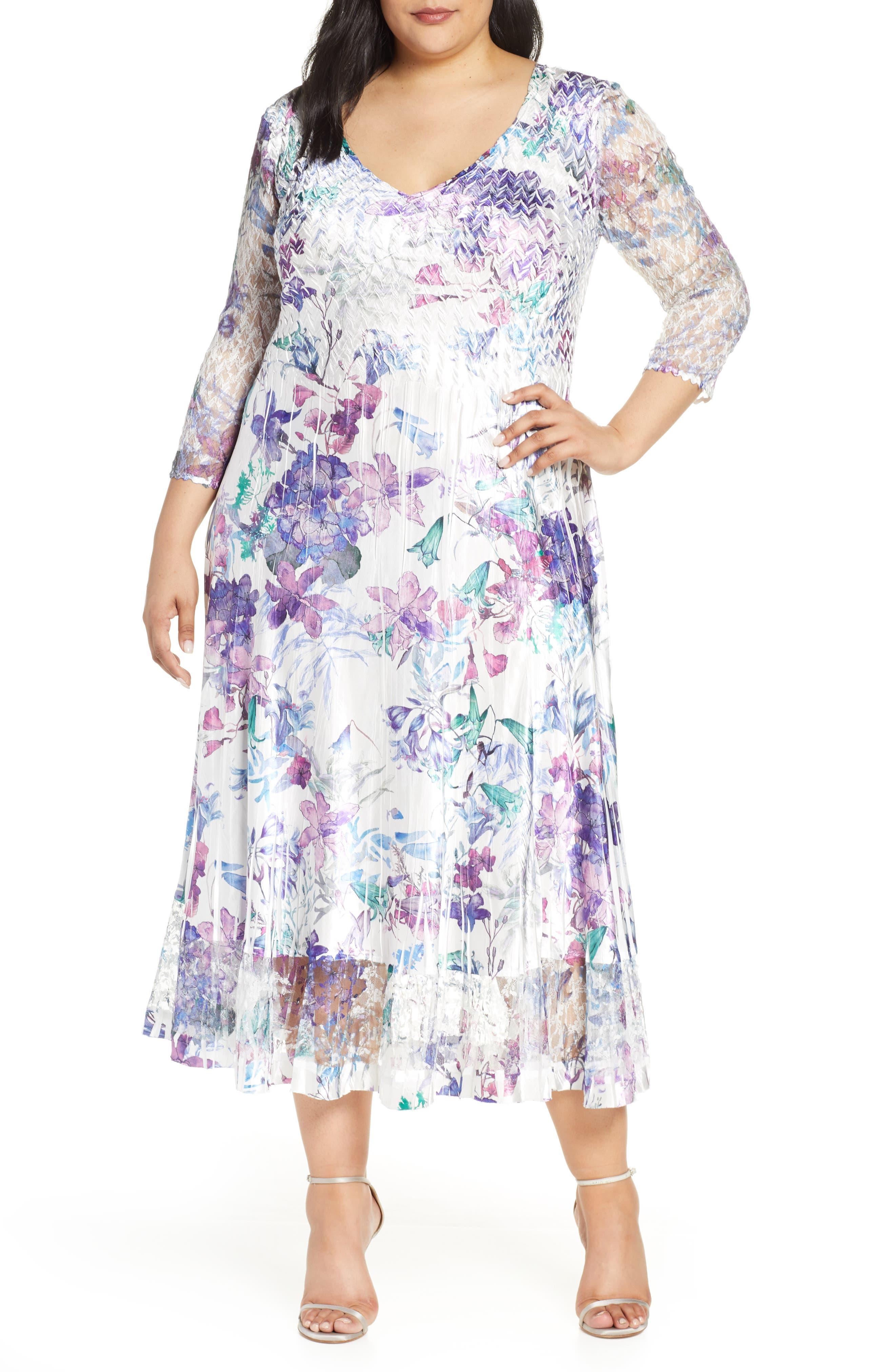 Plus Size Komarov Floral Print V-Neck Charmeuse Tea Length Dress, Ivory