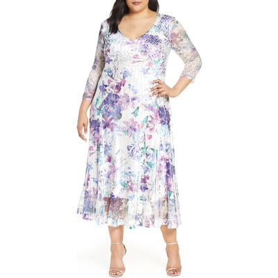 Plus Size Komarov Floral Print V-Neck Charmeuse Tea Length Dress, Ivory