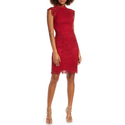Chi Chi London Paulina Lace Cocktail Dress, Red