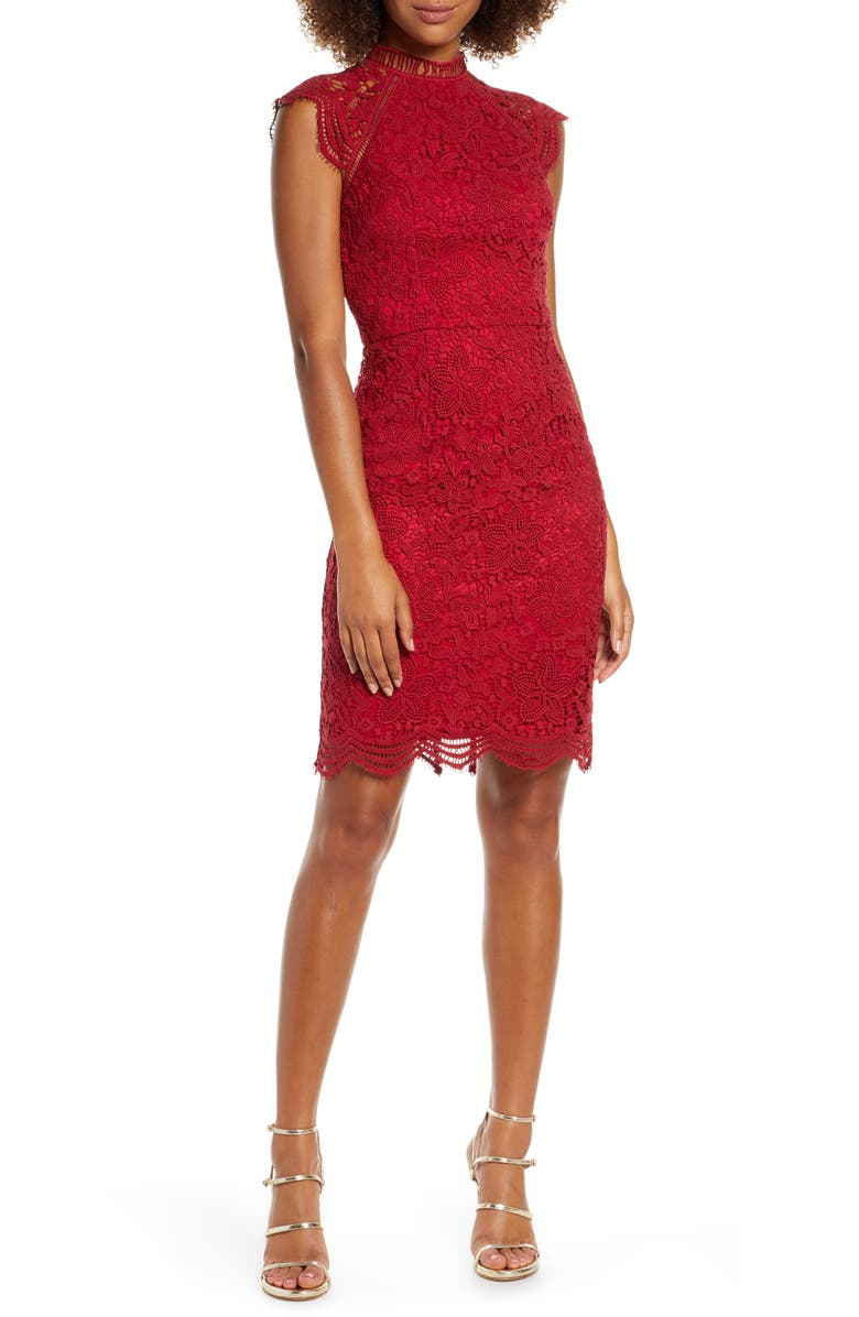CHI CHI LONDON Paulina Lace Cocktail Dress, Main, color, BERRY
