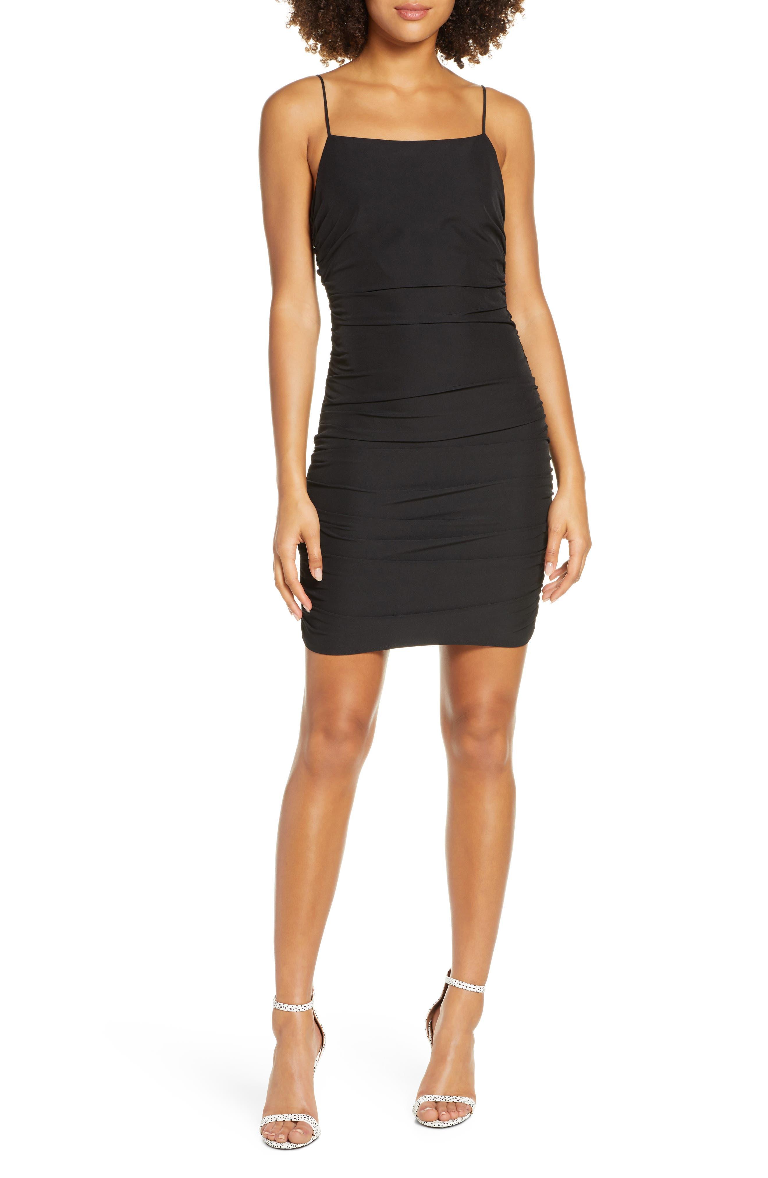 Nsr Alex Ruched Body-Con Minidress, Black