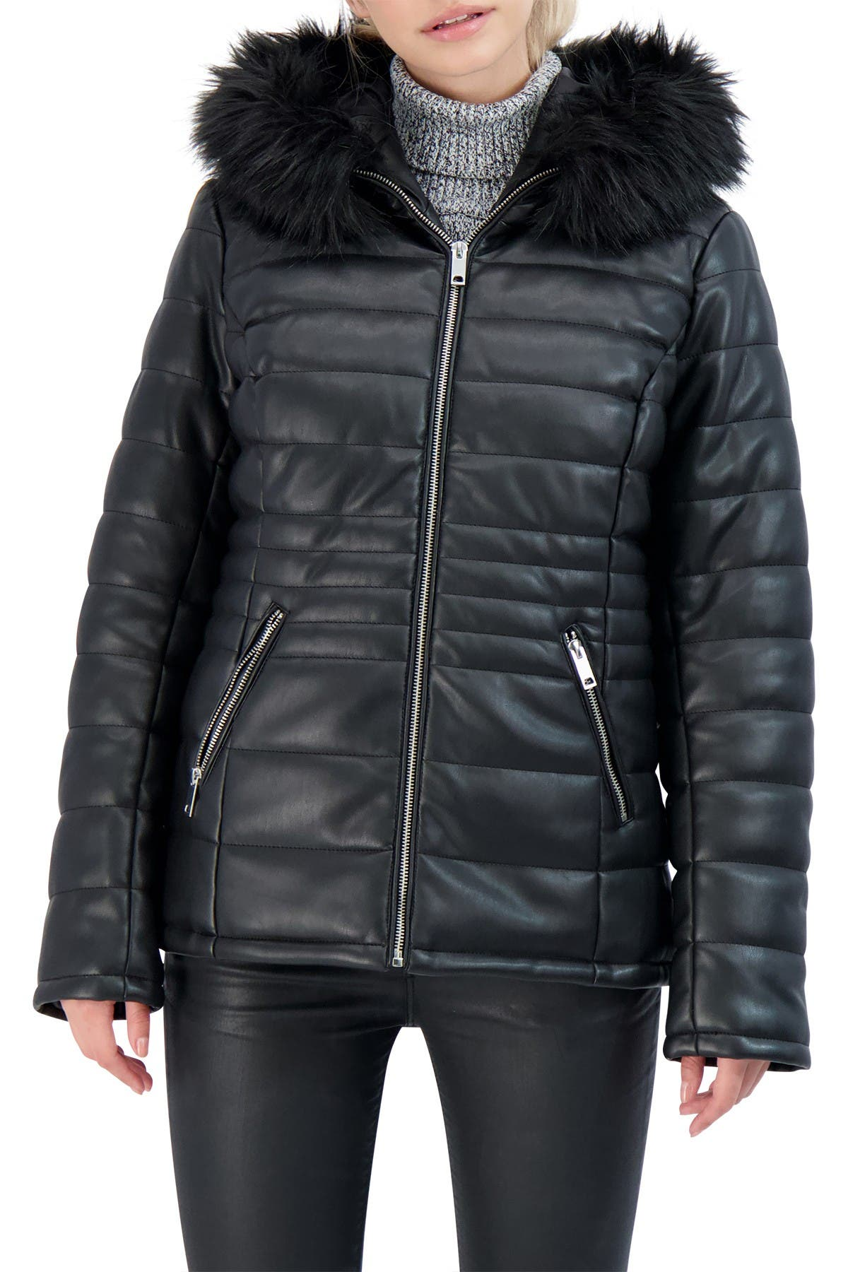 Sebby Collection Faux Leather Hooded Puffer Jacket