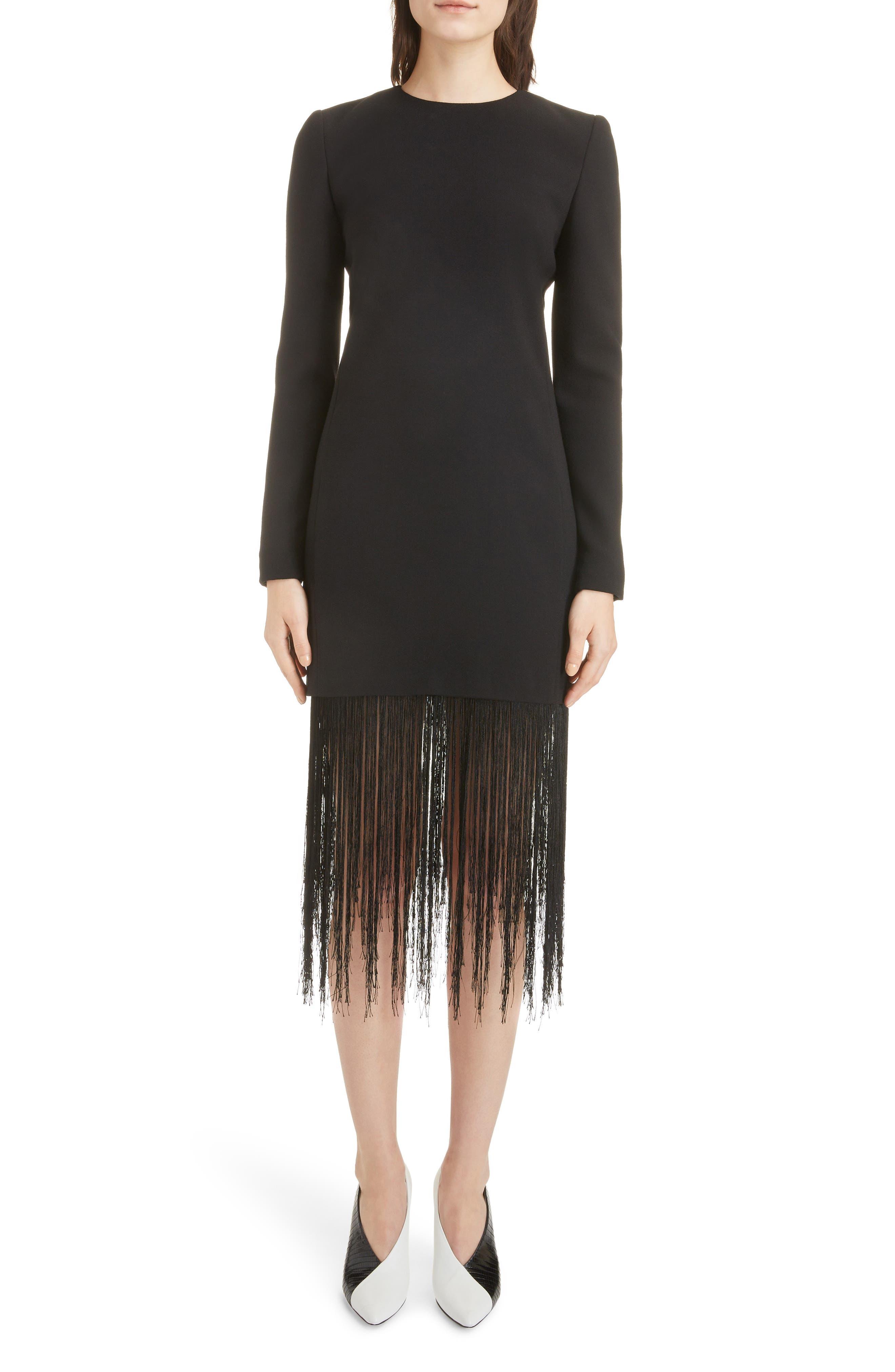 Givenchy Fringe Hem Wool Crepe Sheath Dress, 6 FR - Black