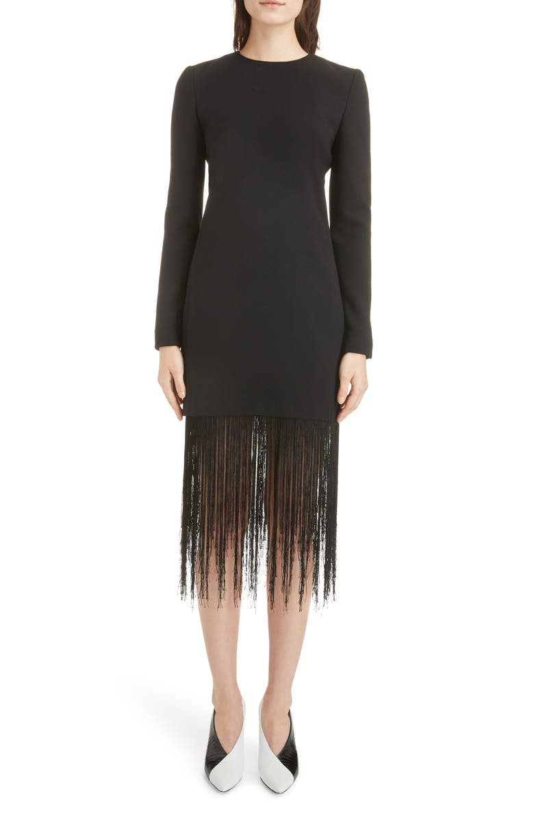 GIVENCHY Fringe Hem Wool Crepe Sheath Dress, Main, color, BLACK